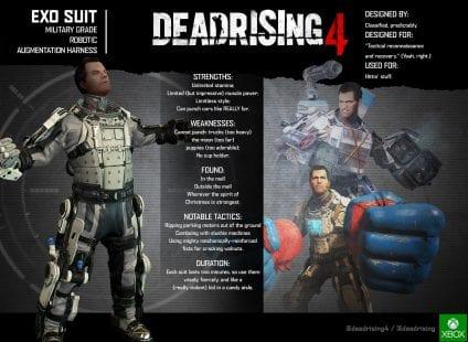 Dead Rising 4 Exo Suit Sheet 424x310 - Dead Rising 4 - Gameplay e Immagini dalla Gamescom