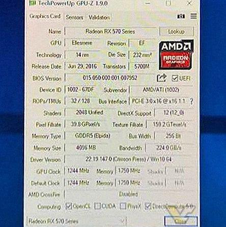 AMD Radeon RX 570 GPUZ Specifications 1 444x445 - Le prime foto delle schede video AMD Radeon RX 570 e 580
