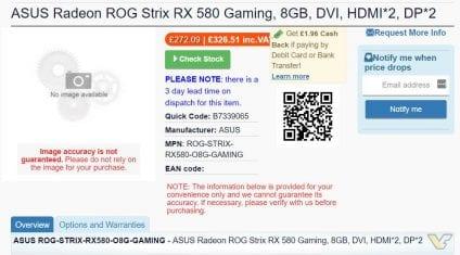 Radeon RX500 list 424x235 - Apparse nel listino di diversi negozi online diverse schede della serie RX 500