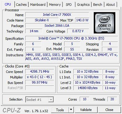 I9 7900X cpu z 1 - Intel Core i9 7900X - Recensione