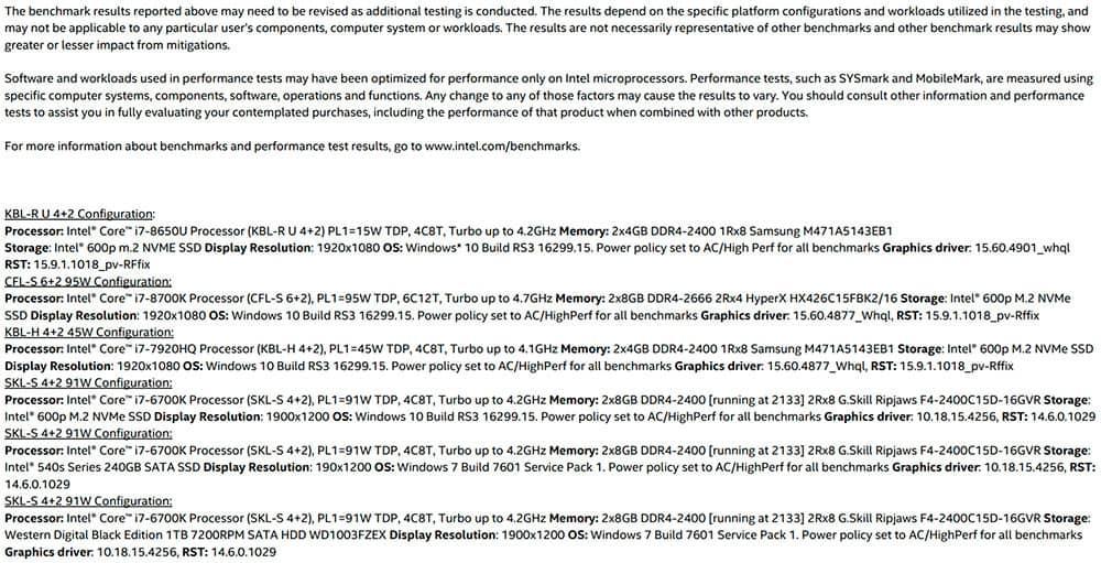 intel benchmark cpu fix2 - Ecco i benchmark ufficiali di Intel dopo il fix di Meltdown e Spectre