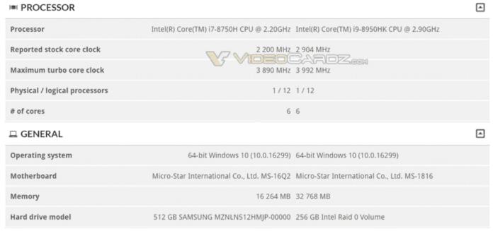 Intel Core i9 8950HK 1000x470 696x327 - Primi indizi della nuova CPU mobile Intel Core i9-8950HK