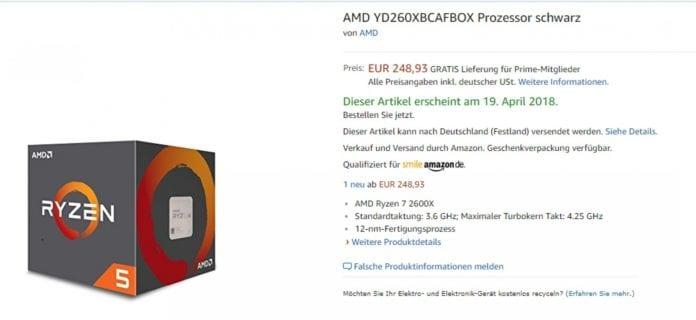 Ryzen 5 2600X amazon 696x320 - La nuova CPU Ryzen 5 2600X su Amazon