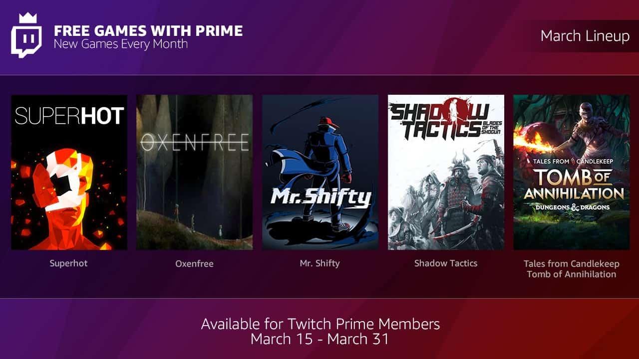 twitch prime giochi gratuiti - Agli abbonati Prime, Twitch regala cinque giochi tra cui Shadow Tactics e Superhot