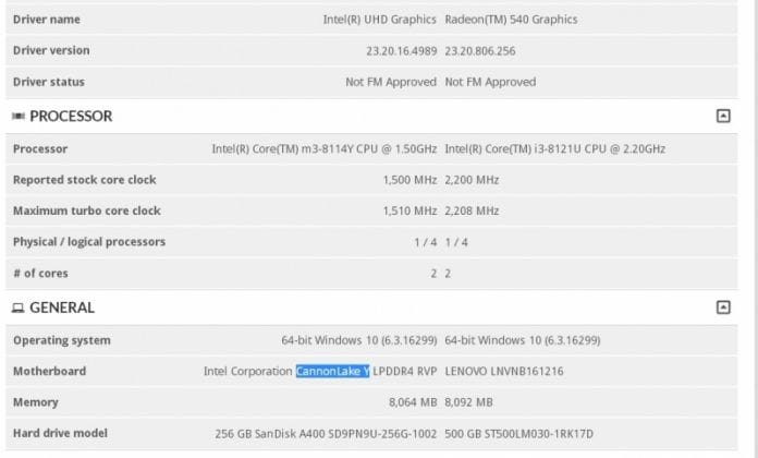 Intel Cannon Lake 3d mark m3 8114Y 696x420 - Prima CPU 10 nm Intel Cannon Lake sul 3DMARK