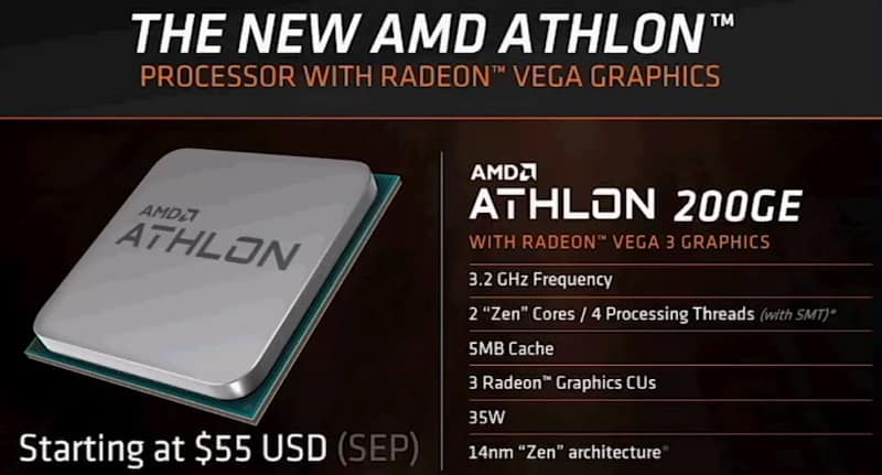 Athlon 200GE 1 - AMD rivela la nuova APU Athlon 200GE con GPU Vega 3