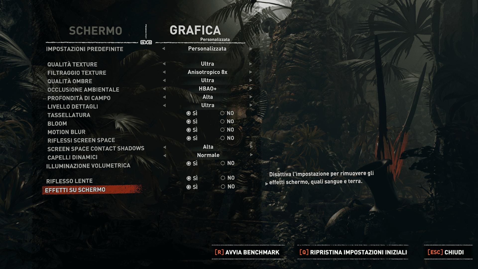 Opzioni grafiche Shadow of Tomb Raider