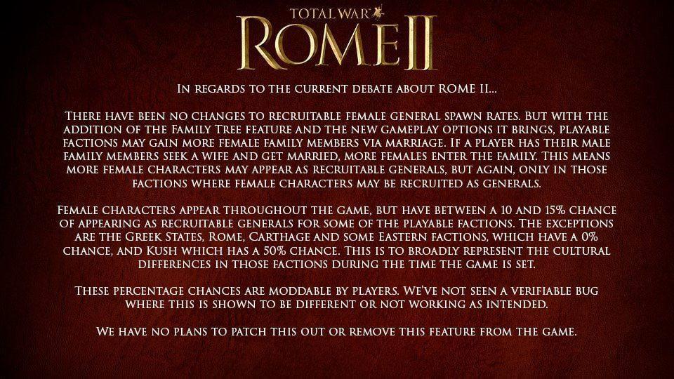 rome total war 2 donne - Troppe generali donne in Total War: Rome 2, giocatori infuriati