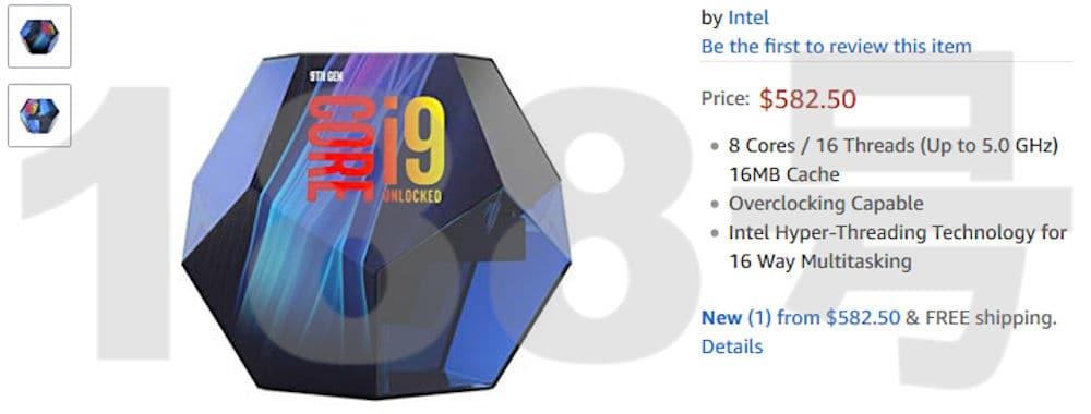Intel 9900K packaging - Intel i9-9900K appare su Amazon, prezzo e confezione