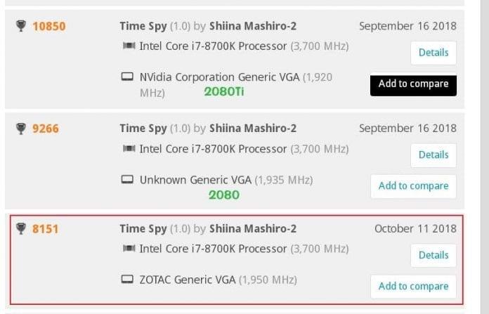 rtx 2070 bench 3d mark 2 696x447 - GeForce RTX 2070 - Primo benchmark 3DMark Time Spy
