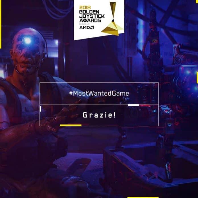 """Cyberpunk2077 Golden Joysticks 696x696 - Cyberpunk 2077 vince il premio """"gioco più atteso"""" ai Golden Joystick"""