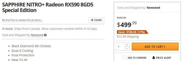 RX 590 pricing 696x233 - Sapphire Radeon RX 590 NITRO + su NEWEGG con tanto di prezzo