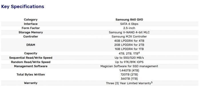 SSD 860 QVO specifiche 696x321 - Samsung lancia i nuovi SSD 860 QVO, 1 TB a prezzi ragionevoli