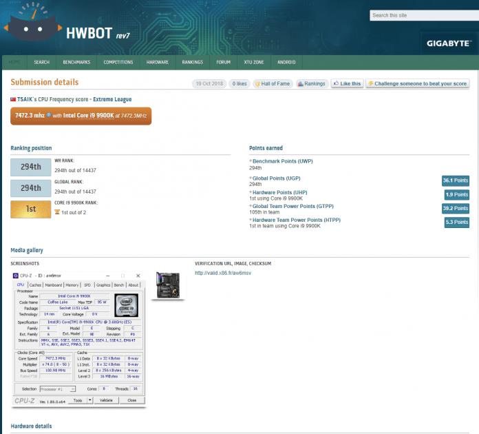 hwbot 696x630 - MSI MEG Z390 GODLIKE e Intel Core i9 9900K raggiungono i 7.47 GHz
