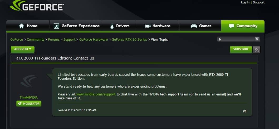 nvidia rtx 2080 ti problemi - Nvidia conferma i problemi con diverse schede video RTX 2080 Ti