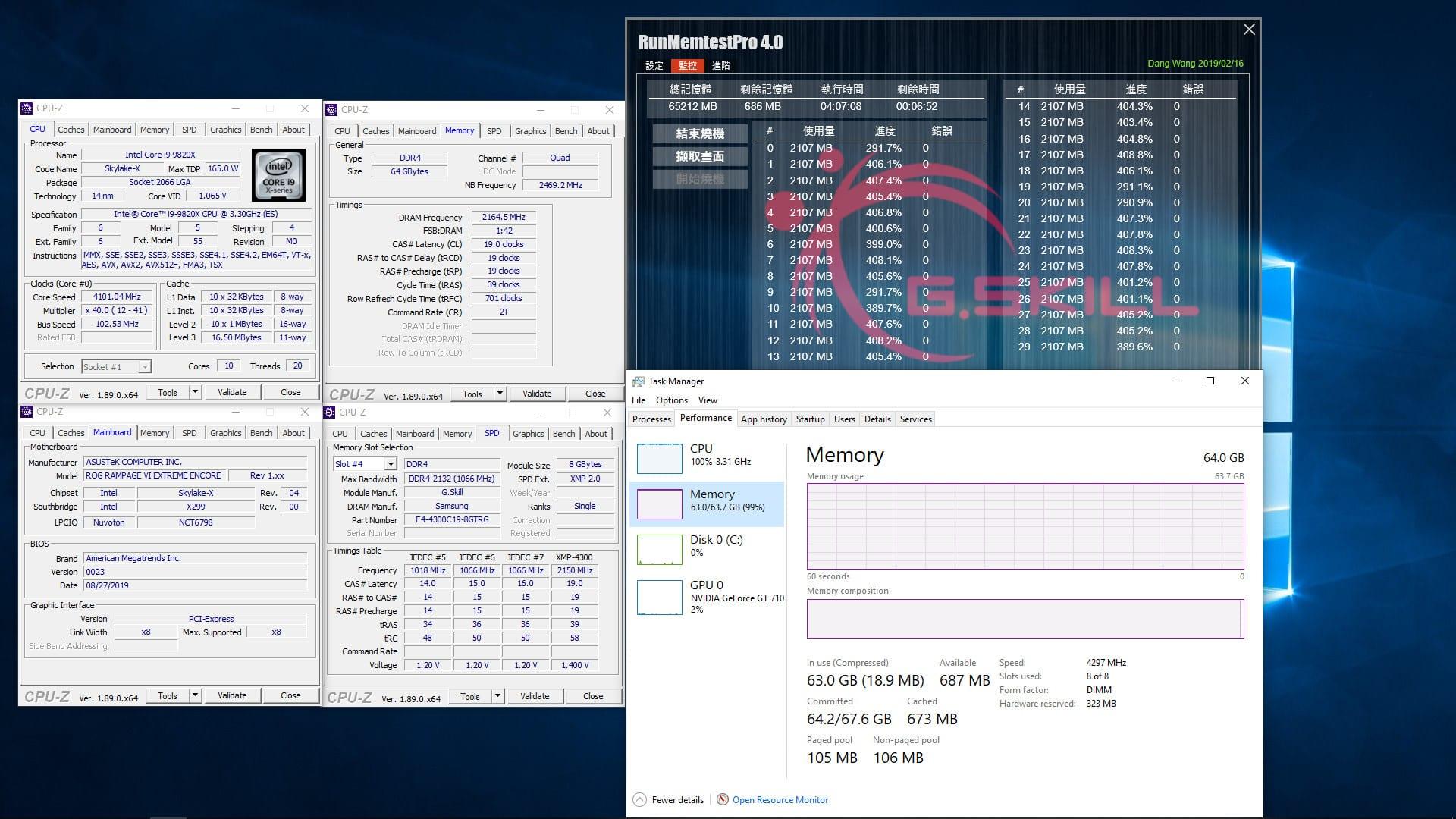 , G.Skill i kit Trident Z Royal DDR4 da 64GB (8GBx8) 4300 MHz CL19 & 4000 MHz CL16