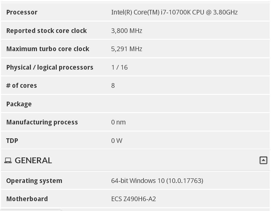 , Intel Core i7-10700K con Turbo Boost a 5.30 GHz